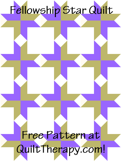 """Fellowship Star Quilt Block Quilt is a Free Pattern for a 36"""" x 48"""" quilt at QuiltTherapy.com!"""