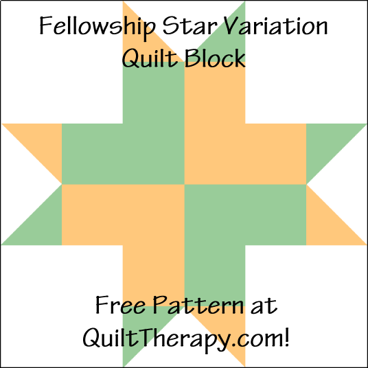 """Fellowship Star Variation Quilt Block is a Free Pattern for a 12"""" quilt block at QuiltTherapy.com!"""