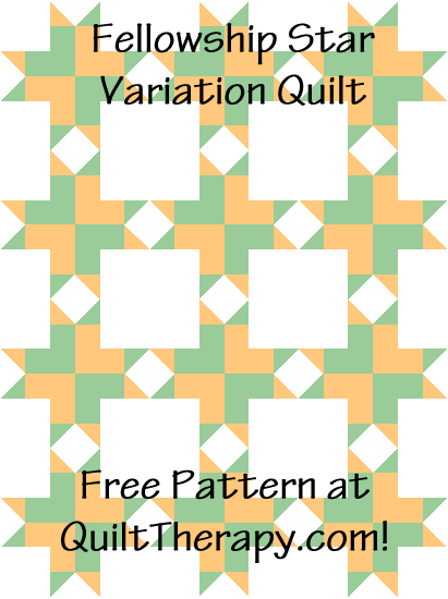 """Fellowship Star Variation Quilt Block Quilt is a Free Pattern for a 36"""" x 48"""" quilt at QuiltTherapy.com!"""