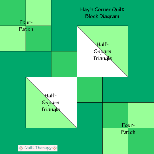 """Hay's Corner Quilt Block Diagram is a Free Pattern for 12"""" finished quilt block at QuiltTherapy.com!"""