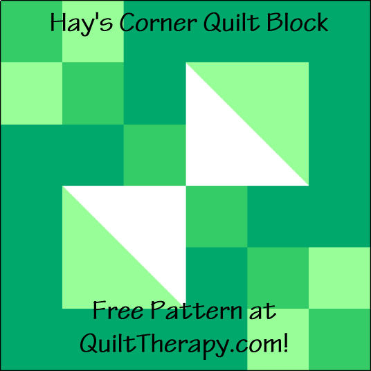 """Hay's Corner Quilt Block is a Free Pattern for a 12"""" quilt block at QuiltTherapy.com!"""