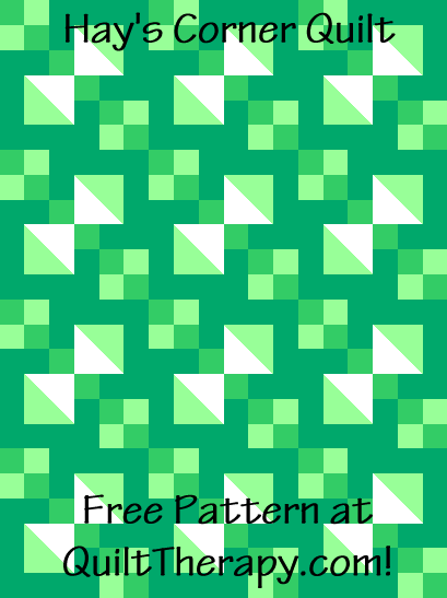 """Hay's Corner Quilt is a Free Pattern for a 36"""" x 48"""" quilt at QuiltTherapy.com!"""