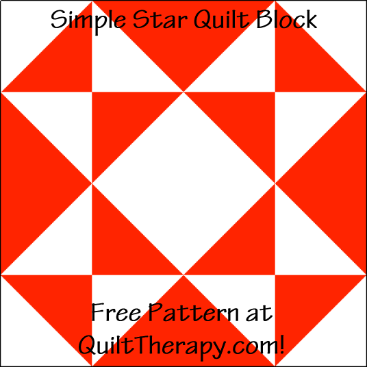 """Simple Star Quilt Block is a Free Pattern for a 12"""" quilt block at QuiltTherapy.com!"""