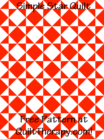 """Simple Star Quilt is a Free Pattern for a 36"""" x 48"""" quilt at QuiltTherapy.com!"""