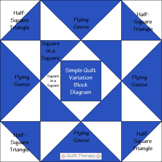 """Simple Star Variation Quilt Block Diagram is a Free Pattern for 12"""" finished quilt block at QuiltTherapy.com!"""