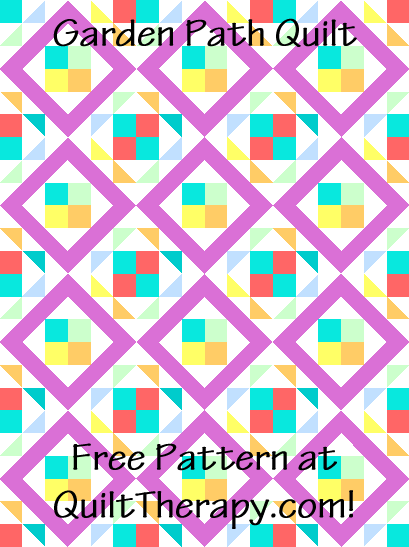 """Garden Path Quilt is a Free Pattern for a 36"""" x 48"""" quilt at QuiltTherapy.com!"""