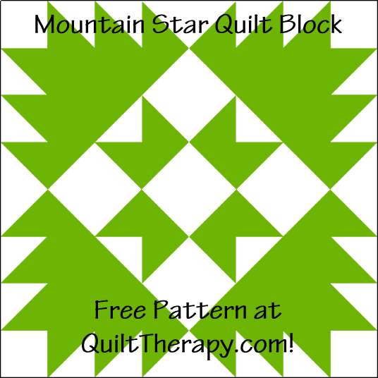 """Mountain Star Quilt Block is a Free Pattern for a 12"""" quilt block at QuiltTherapy.com!"""