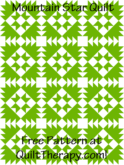 """Mountain Star Quilt is a Free Pattern for a 36"""" x 48"""" quilt at QuiltTherapy.com!"""