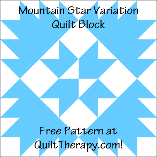 """Mountain Star Variation Quilt Block is a Free Pattern for a 12"""" quilt block at QuiltTherapy.com!"""