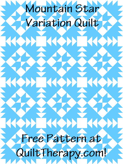 """Mountain Star Variation Quilt is a Free Pattern for a 36"""" x 48"""" quilt at QuiltTherapy.com!"""