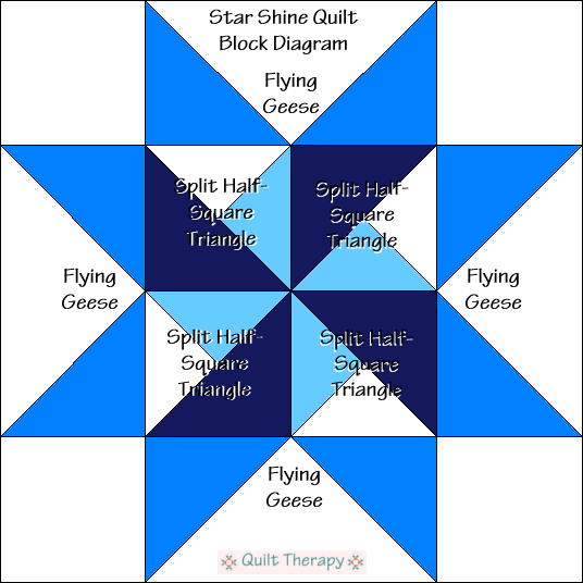 """Star Shine Quilt Block Diagram is a Free Pattern for 12"""" finished quilt block at QuiltTherapy.com!"""