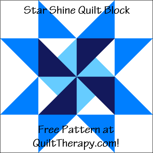 """Star Shine Quilt Block is a Free Pattern for a 12"""" quilt block at QuiltDash.com!"""