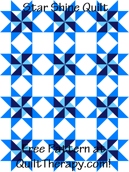 """Star Shine is a 36"""" x 48"""" Free Quilt Pattern at QuiltTherapy.com!"""