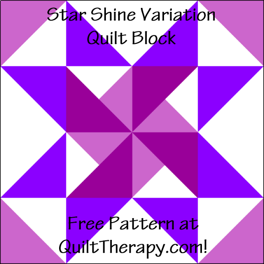 """Star Shine Variation Quilt Block is a Free Pattern for a 12"""" quilt block at QuiltDash.com!"""