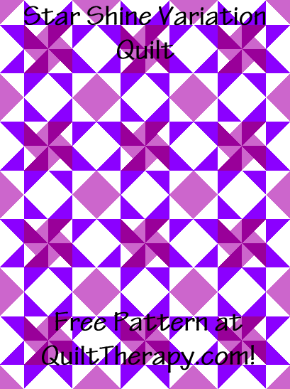"""Star Shine Variation Quilt is a 36"""" x 48"""" Free Quilt Pattern at QuiltTherapy.com!"""